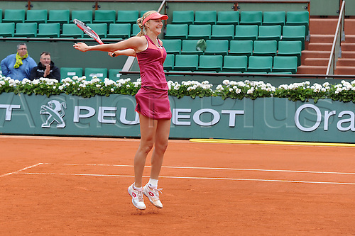 09.06.2013 Paris, France. Ekaterina Makarova of Russia celebrates her win  against Sara Errani of Italy and Roberta Vinci of Italy in the Women's Doubles Final of the French Open from Roland Garros.