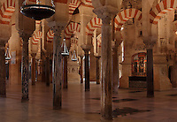 Hypostyle prayer hall, built under Prince Abd Al-Rahman I, 731-788, in the Cathedral-Great Mosque of Cordoba, in Cordoba, Andalusia, Southern Spain. The hall is filled with rows of 856 reused Roman columns of jasper, onyx, marble, and granite, topped with double arches in stripes of red brick and white stone. The first church built here by the Visigoths in the 7th century was split in half by the Moors, becoming half church, half mosque. In 784, the Great Mosque of Cordoba was begun in its place and developed over 200 years, but in 1236 it was converted into a catholic church, with a Renaissance cathedral nave built in the 16th century. The historic centre of Cordoba is listed as a UNESCO World Heritage Site. Picture by Manuel Cohen