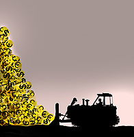 Bulldozer moving large pile of currency