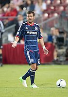 12 September 2012: Chicago Fire defender Gonzalo Segares #13 in action during an MLS game between the Chicago Fire and Toronto FC at BMO Field in Toronto, Ontario..The Chicago Fire won 2-1..