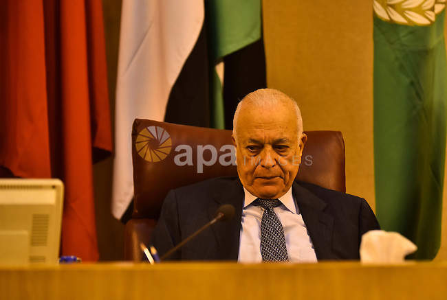 Secretary-General of Arab league Nabil al-Arab attend the meeting of Arab thought foundation in the Arab League's headquarters in the Egyptian capital, Cairo, on Dec. 07, 2015. The Arab Thought Foundation is an international independent non-governmental organization. It has no inclination to any party or religious group; it is rather dedicated to promote the Nation's pride with all its principles, values and ethics, in an atmosphere of a responsible freedom. Photo by Amr Sayed