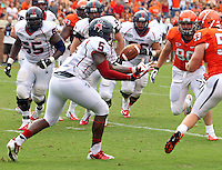 Richmond Spiders fullback Kendall Gaskins (5) makes a touchdown catch next to Virginia Cavaliers defensive end Jake Snyder (90) during the 2nd half of an NCAA football game against the Virginia Cavaliers Saturday September, 1, 2012 at Scott Stadium in Charlottesville, Va. Virginia defeated Richmond 43-19.  Photo/The Daily Progress/Andrew Shurtleff
