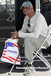 SLUG/USA  Willie George Adams, age 75, takes a break during the Los Angeles Congressional Black Caucus Job Fair in Los Angeles, California on August 31, 2011. REUTERS/Jonathan Alcorn (UNITED STATES).
