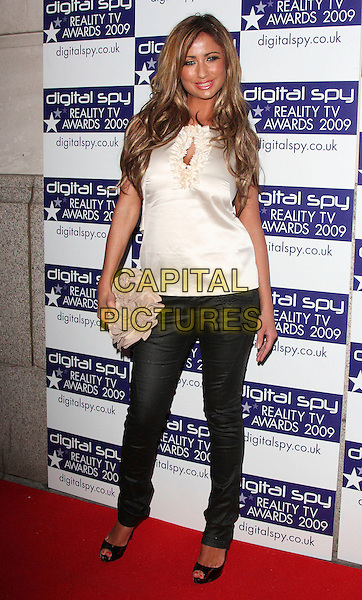 CHANTELLE HOUGHTON.Digital Spy Reality TV Awards at the Bloomsbury Ballroom, London, England.  .April 6th, 2009.full length white cream silk satin ruffled ruffles top trousers beige clutch bag peep toe shoes clutch bag .CAP/ROS.©Steve Ross/Capital Pictures.
