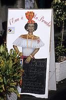 Europe/France/DOM/Antilles/Petites Antilles/Guadeloupe/Pointe-à-Pitre : Porte-menu d'un restaurant