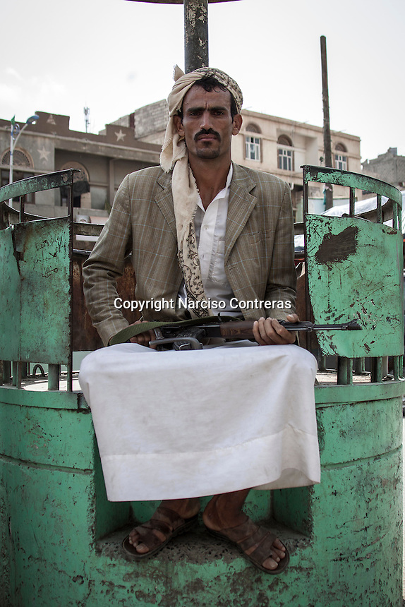 Monday 06 July, 2015: A Houthi militant posses for picture in Hajjah city in northwest of Yemen. (Photo/Narciso Contreras)