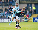 Dundee v St Johnstone....29.09.12      SPL.Martin Boyle tackled by Dave Mackay.Picture by Graeme Hart..Copyright Perthshire Picture Agency.Tel: 01738 623350  Mobile: 07990 594431