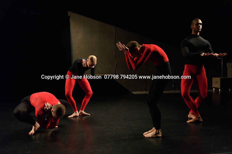 "Julie Cunningham & Company present ""Returning"" and ""To Be Me"", in a double bill, in The Pit, at the Barbican Centre. The piece shown is ""To Be Me"". The dancers are: Julie Cunningham, Harry Alexander, Hannah Burfield, Alexander Williams."