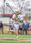 18 April 2015:  University of Vermont Catamount Defender James Leary, a Freshman from Seabrook, NH, in action against the University of Hartford Hawks at Virtue Field in Burlington, Vermont. The Cats defeated the Hawks 14-11 in the final home game of the 2015 season. Mandatory Credit: Ed Wolfstein Photo *** RAW (NEF) Image File Available ***
