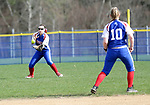 Burlington, CT- 17 April 2017-041717CM06-  Nonnewaug left fielder Allison Green fields the ball during their Berkshire League matchup against Lewis Mills in Burlington on Monday.  Also in the play is teammate,  Heather Abramovich (10).  Nonnewaug would take home the win, 5-1.   Christopher Massa Republican-American