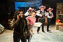 London, UK. 03.10.2014. Mountview Academy of Theatre Arts presents VERNON GOD LITTLE, at the Bridewell Theatre. Picture shows: Zari Lewis, Clara Porterfield, Richard Rowe MCGhie, Louis Martin, John Wallis. Photograph © Jane Hobson.