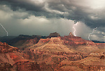 Three Strikes of lightning hit Zoroaster Temple below the North Rim of Grand Canyon National Park.