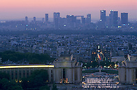 Trocadero Palace and the La Défense skyscrapers seen from the Eiffel Tower, Paris, France.