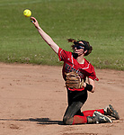 LITCHFIELD,  CT-051717JS08- Wamogo's Samantha Sylvester (3) throws to first for the out after diving for a ground ball during their Berkshire League match-up with Nonnewaug Wednesday at Wamogo High School in Litchfield. <br /> Jim Shannon Republican-American