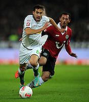 FUSSBALL   1. BUNDESLIGA    SAISON 2012/2013    9. Spieltag   Hannover 96 - Borussia Moenchengladbach         28.10.2012 Lukas Rupp (li, Borussia Moenchengladbach) gegen Sergio Pinto (re, Hannover 96)