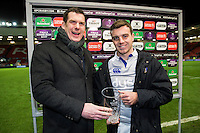 George Ford of Bath Rugby poses for a photo with his Man of the Match award. European Rugby Challenge Cup match, between Bristol Rugby and Bath Rugby on January 13, 2017 at Ashton Gate Stadium in Bristol, England. Photo by: Rogan Thomson / JMP for Onside Images
