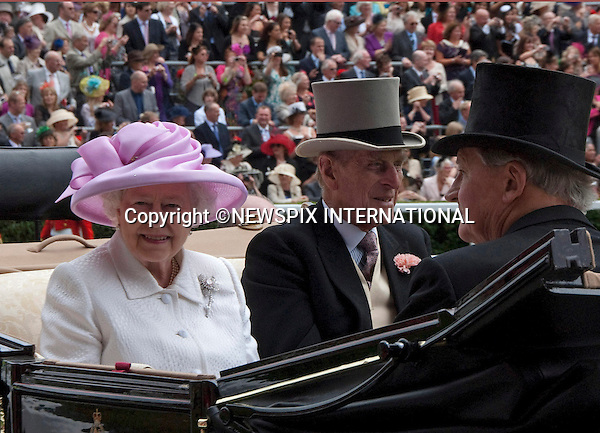 """QUEEN AND DUKE OF EDINBURGH.Royal Ascot Day 2, Ascot_15/11/2011.Mandatory Photo Credit: ©Shaw/NEWSPIX INTERNATIONAL..**ALL FEES PAYABLE TO: """"NEWSPIX INTERNATIONAL""""**..PHOTO CREDIT MANDATORY!!: Newspix International(Failure to credit will incur a surcharge of 100% of reproduction fees)..IMMEDIATE CONFIRMATION OF USAGE REQUIRED:.Newspix International, .31 Chinnery Hill, Bishop's Stortford, ENGLAND CM23 3PS..Tel:+441279 324672  ; Fax: +441279656877..Mobile:  0777568 1153..e-mail: info@newspixinternational.co.uk"""