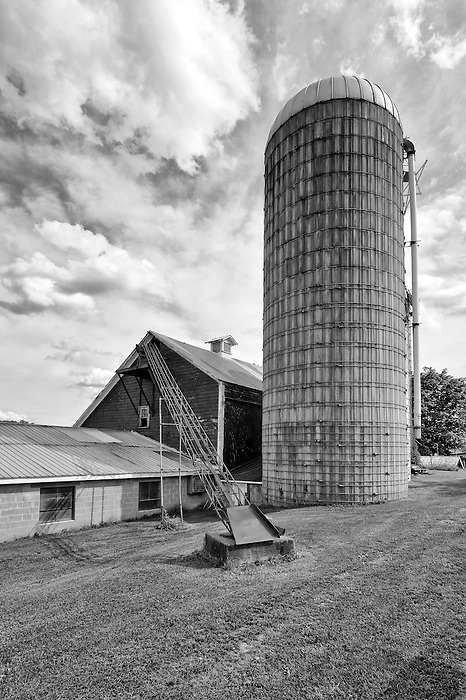 A grain Silo with barn and hay transport