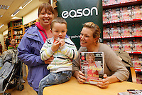 """*** NO FEE PIC ***.01/10/2011.Eason Ireland's leading retailer of books stationery, magazines & lots more hosted a book sigining by best selling cookery writer & TV cook Rachel Allen who signed copies of her new book """" Easy Meals"""" for fans Michelle Healy and her son Liam Healy (2) both from Cork City.at Eason O' Connell St, Dublin..Photo: Gareth Chaney Collins"""
