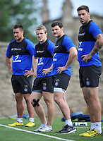 Jonathan Evans and Jeff Williams of Bath Rugby look on. Bath Rugby training session on August 4, 2015 at Farleigh House in Bath, England. Photo by: Patrick Khachfe / Onside Images