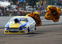 Aug 16, 2014; Brainerd, MN, USA; NHRA pro stock driver Allen Johnson during qualifying for the Lucas Oil Nationals at Brainerd International Raceway. Mandatory Credit: Mark J. Rebilas-USA TODAY Sports