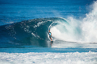 PIPELINE, Oahu, Hawaii (Sunday, December 8, 2013) Kaimana Jaquias (HAW). - The opening day of the Billabong Pipe Masters, in Memory of Andy Irons, commenced today in firing six-to-eight foot (2 metre) waves and the world's best surfers put on an incredible display of technical barrel riding at Pipeline and Backdoor to complete Rounds 1 and 2. The Billabong Pipe Masters is the third and final leg of the Vans Triple Crown of Surfing.<br /> <br /> The final stop on the ASP World Championship Tour (WCT), the Billabong Pipe Masters will decide the 2013 ASP World Title Race, the coveted Vans Triple Crown of Surfing Champion and the final qualification slots for next season's Top 34. <br /> Gabriel Medina (BRA), 19, would put together an amazing show at the iconic lefts of Pipeline to kick off the Billabong Pipe Masters, navigating through a heavy barrel on his opening score to post a near-perfect 9.67. The Brazilian Prodigy would quickly back up the ride, earning an additional 9 point score for another deep Pipe tube punctuated with a massive alley-oop, eliminating Bruce Irons (HAW), 34. Medina's unlikely aerial at Pipeline puts him in the running for a 250,000 mile prize from   Hawaiian Airlines Airshow award.<br /> Sebastian Zietz (HAW), 25, defending Vans Triple Crown of Surfing Champion, immediately found his rhythm at Pipeline, earning the first perfect 10-point ride of Billabong Pipe Masters competition for an unbelievable Backdoor barrel.<br /> Photo: joliphotos.com- The opening day of the Billabong Pipe Masters, in Memory of Andy Irons, commenced today in firing six-to-eight foot (2 metre) waves and the world's best surfers put on an incredible display of technical barrel riding at Pipeline and Backdoor to complete Rounds 1 and 2. The Billabong Pipe Masters is the third and final leg of the Vans Triple Crown of Surfing.<br /> <br /> The final stop on the ASP World Championship Tour (WCT), the Billabong Pipe Masters will decide the 2013 ASP World Title Race, the coveted Vans Triple Crown of Surfing Champio