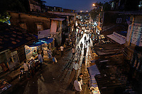Crowds in the Dharavi Slums just outside the airport in Mumbai.  These are the largest slums in the world.  The world bank is trying to work out an arrangement where all of these squatters will get about twice the space they have now in new buildings, but it is complicated.