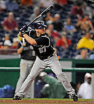 15 August 2008: Colorado Rockies' third baseman Garrett Atkins in action against the Washington Nationals at Nationals Park in Washington, DC.  The Rockies edged out the Nationals 4-3, handing the last place Nationals their 8th consecutive loss. ..Mandatory Photo Credit: Ed Wolfstein Photo