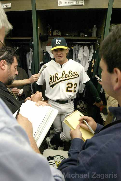 OAKLAND, CA - APRIL 5:  Eric Byrnes of the Oakland Athletics after the MLB game against the Texas Rangers at Network Associates Coliseum on April 5, 2004 in Oakland, California. The A's defeated the Rangers 5-4. (Photo by Michael Zagaris/MLB Photos via Getty Images)