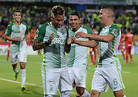 MEDELLIN-COLOMBIA- 12-02-2017. Dayro Moreno  jugador de  Atlético Nacional celebra su gol contra    Rionegro  durante encuentro  por la fecha 3 de la Liga Aguila I 2017 disputado en el estadio Atanasio Girardot./  Dayro Moreno  player of   Atletico Nacional celebrates his goal  against of  Rionegro during match for the date 3 of the Aguila League I 2017 played at Atanasio Girardot stadium . Photo:VizzorImage / León Monsalve / Contribuidor