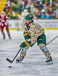 25 November 2014: University of Vermont Catamount Forward Jarrid Privitera, a Freshman from Old Tappan, NJ, in action against the University of Massachusetts Minutemen at Gutterson Fieldhouse in Burlington, Vermont. The Cats defeated the Minutemen 3-1 to sweep the 2-game, home-and-away Hockey East Series. The 12th ranked Catamounts wore their camouflage uniforms for the evening to honor the US military. Mandatory Credit: Ed Wolfstein Photo *** RAW (NEF) Image File Available ***