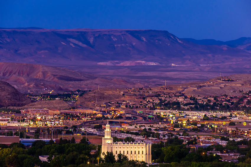 St. George (UT) United States  city photo : predawn cityscape of St. George, Utah, USA featuring the illuminated ...