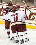 Melissa Bizzari (BC - 4) and Kelli Stack (BC - 16) celebrate Bizzari's goal. - The Boston College Eagles defeated the visiting Harvard University Crimson 6-2 on Sunday, December 5, 2010, at Conte Forum in Chestnut Hill, Massachusetts.