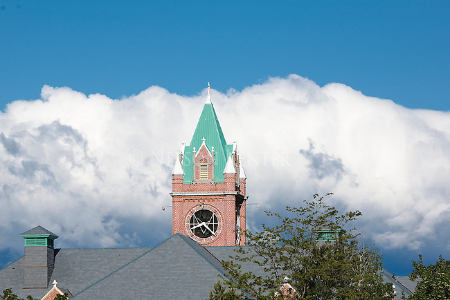 Main Hall and cumulous clouds in Missoula, Montana