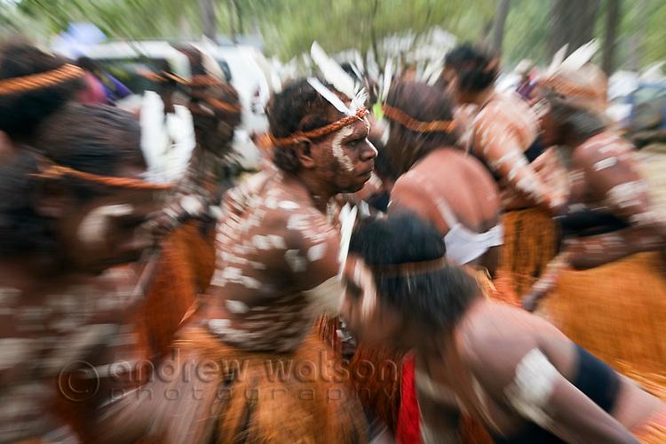 Aurukun dance troupe at the Laura Aboriginal Dance Festival.  Laura, Queensland, Australia