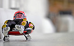 7 February 2009: Jan Eichhorn slides for Germany in the Men's Competition at the 41st FIL Luge World Championships, in Lake Placid, New York, USA. .  .Mandatory Photo Credit: Ed Wolfstein Photo
