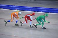SCHAATSEN: HEERENVEEN: IJsstadion Thialf, 17-06-2013, Training zomerijs, Team Pursuit, Jorien ter Mors, Marrit Leenstra, Diane Valkenburg, ©foto Martin de Jong