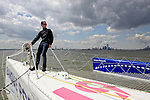 Armel Le Cléac'h and the Maxi Trimaran Solo Banque Populaire VII on stand by for the multihull North Atlantic solo record attempt, New York, Manhattan, United States of America.