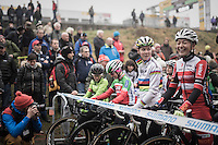 Women's start line with CX World Champion Thalita de Jong (NED/Rabo-Liv) &amp; a relaxed/laughing Sophie de Boer (NED)<br /> <br /> UCI Cyclocross World Cup Namur/Belgium 2016