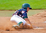 3 July 2011: Vermont Lake Monsters infielder Chad Lewis slides home safely in the bottom of the 9th inning to tie the game 6-6 against the visiting Tri-City ValleyCats at Centennial Field in Burlington, Vermont. The Lake Monsters rallied from a 6-3 deficit, scoring 4 runs in the bottom of the 9th, to defeat the ValletCats 7-6 in NY Penn League action. Mandatory Credit: Ed Wolfstein Photo