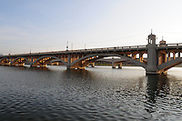 Tempe, Arizona. A southwestern view of Tempe Town Lake at sunset shows one of the the Mill Avenue bridges. Photo by Eduardo Barraza © 2015