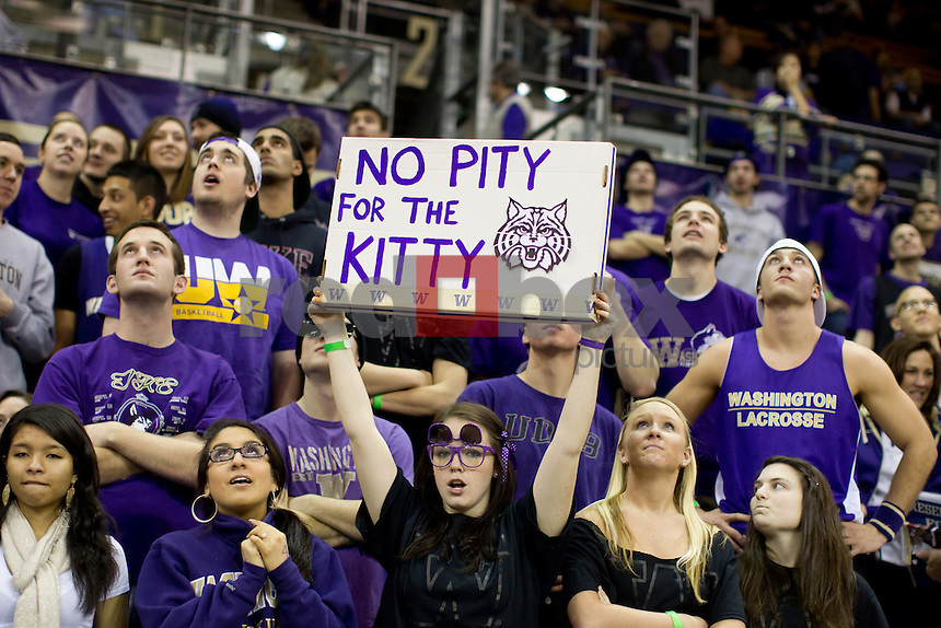 Fans, Students, No Pity for the Kitty. Signs, Dawg Pack. The University of Washington Huskies men's basketball team defeated the University of Arizona Wildcats 79-70 at Alaska Airlines Arena on the campus of the University of Washington in Seattle on Saturday February 18, 2012 (Photo by Scott Eklund/Red Box Pictures)