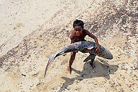 A local Boy from Palau with a beached Shark,Micronesia