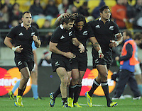From left, Israel Dagg, Conrad Smith and Ma'a Nonu celebrate Julian Savea's try during the Rugby Championship international rugby test match between the All Blacks and Argentina at Westpac Stadium, New Zealand on Saturday, 8 September 2012. Photo: Dave Lintott / lintottphoto.co.nz