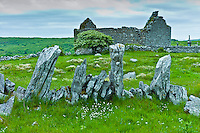 Historic site medieval village ruins and 15th Century Carron Church with graveyard, County Clare, West of Ireland
