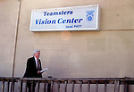 WATERBURY, CT -- 02/23/04 -- 0223TH05.04 --  Senator Chris Dodd D-Conn arrives at the Teamsters Vision Center Local #677 on Baldwin Street in Waterbury Monday morning to outline his latest plans to keep manufacturing jobs in state.  PHOTO BY TODD HOUGAS