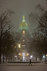 Jan. 23, 2013; Main Building in a night snowstorm..Photo by Matt Cashore/University of Notre Dame