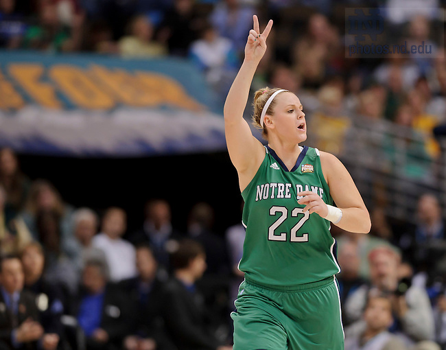 Apr. 3, 2012; Brittany Mallory signals her teammates in the first half of the 2012 Women's Basketball National Championship game...Photo by Matt Cashore/University of Notre Dame