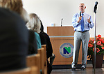 WATERBURY CT. 24 April 2017-042417SV08-Mark E. Ojakian, President of the Connecticut State Colleges and Universities system, speaks at Naugatuck Valley Community College in Waterbury Tuesday. Ojakian was discussing proposed plans for administrative consolidation of the entire CSCU system and operational consolidation of the community colleges. <br /> Steven Valenti Republican-American