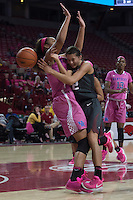 NWA Democrat-Gazette/J.T. WAMPLER Arkansas' Bailey Zimmerman collides with Kentucky's Alyssa Rice Thursday Feb. 16, 2017 drawing a charge foul at Bud Walton Arena in Fayetteville. The Wildcats won 69-62.